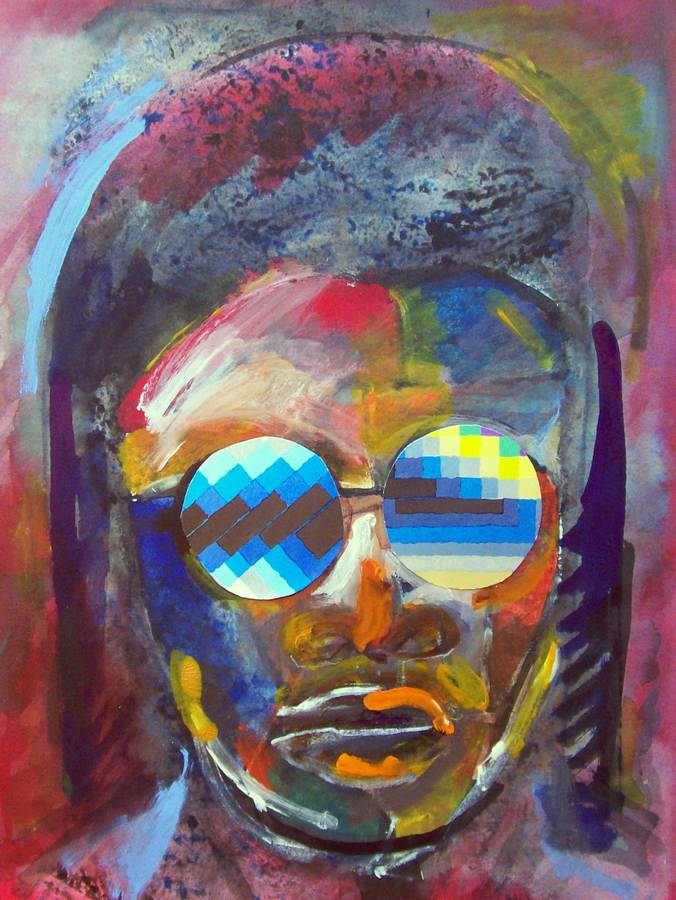 A Jazz monotype of Stevie Wonder by Arthur Secunda