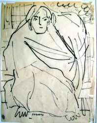 Senora con Reboza an Indian ink drawing by Arthur Secunda